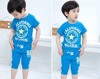 2013 new (5set/Lot ) Boy's&Girls Clothes Suits Kids short -sleeved 2pcs Shirt + pants cartoon Cartoon Letters pentagramTracksuit