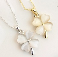 Sweet golden silver - eye lucky four leaf clover short necklace fashion elegant female elegant chain