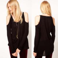 Hot Selling Women Black Long Sleeve Slim Off Shoulder t shirt shirts Cotton