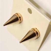 Fashion punk rivet taper gold stud earring female bullet earring personalized