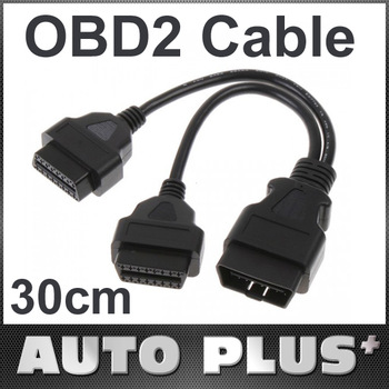 Auto Car Tool 30CM 16 Pin OBD2 2 OBDII Splitter Extension Cable Connector Male to Dual Female Y Cables Free Shipping Wholesale