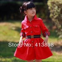 2014 spring and winter clothing girls medium-large gentlewomen medium-long trench princess outwear freeshipping