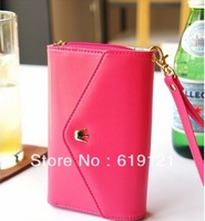 wholesale 1000pcs/lot Free Shipping Factory price smart pouch leather wallet case smart pouch leather handbags For iphone 4G 5G