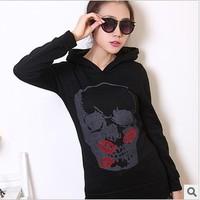 new 2014 fashion autumn&winter thick fleece womans hoodie hip hop black sport wear woman's plus size cardigan M-XXL