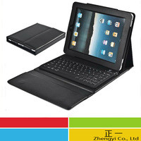 Free shipping Bluetooth Waterproof Keyboard leather case for i pad 2 3 4 bracket protective cover