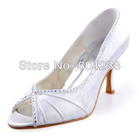 MZ537 free shipping wholesale latest design large size peep toes high heel white satin women evening shoes with crystal