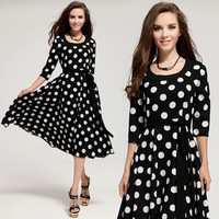 Free shipping new fashion autumn Korean style chiffon O-Neck petal sleeve little dot cute women mid-calf dress 9015