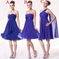Mix order under 100$ Blue Bridesmaid Dresses Sheath Sweetheart Chiffon Open Back Ruffle Knee Length yk-8E40H