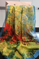 Oil painting - brightly elegant autumn and winter Women silk scarf silk scarf
