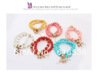 Min order is $10 Free Shipping Acrylic Beaded Stretch Bracelet Metal Elephant Charm Bracelet 6 colors