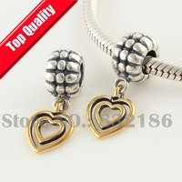 Authentic 925 Sterling Silver Dangle Spacer Charm Beads with 2 Gold Plated Love Hearts, Compatible With Pandora Bracelet YB205