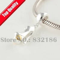 High Hell 925 Sterling Silver Dangle Spacer Charm Beads with Gold Plated Flower, DIY Jewelry Fit Troll Charm Bracelet YB208
