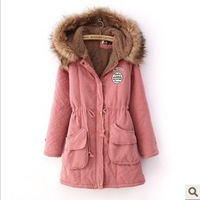 Ladies Fleece Lining Hoody Coat,2014 Winter New Thickening Cotton-Padded Clothes Women's Wear Faux Collars &Lambs Wool Jackets