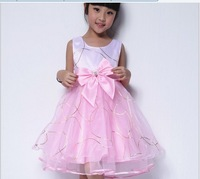 2013 latest children dress flower girl Shaqun decorated bow belt vest dress princess dress 4 colors and 5 size