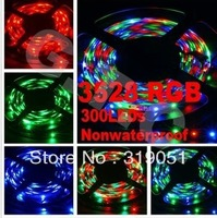 5m 300 LED 3528 SMD 12V RGB flexible light 60 led/m,LED strip ,Free Shipping
