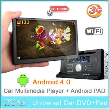 "2013 new 7"" Double 2 Din HD GPS Car DVD Player car pc gps navigation BT TV 3G WiFi Android 4.0 PAD MID Tablet Support 10% Off"