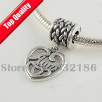 925 Sterling Silver Love My Aunt Heart Shape Dangle Spacer Charm Beads, DIY Jewelry Fit Thread Troll Charm Bracelet YB191