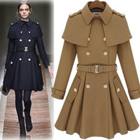2013 Blend Camel Black Long Sleeve Plus Size Double Breasted Casual Coat Women Outerwear New Fashion 2013 Autumn Winter Jacket