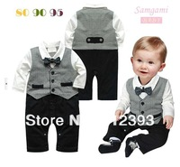 New Arrival Baby boy romper Baby jumpsuit  gentleman style long sleeves size 80CM 90CM 95cm  original brand Free shipping