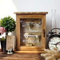 Zakka solid wood vintage key storage cabinet wall storage box storage cabinets of glass
