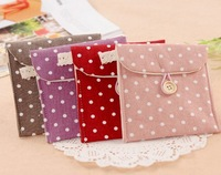 3 pcs/lot Sanitary Towel Napkin Pad Bags Purse Bag Cotton Pouch Holder Free shipping