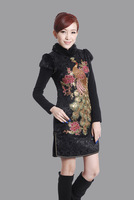 2014 autumn and winter cheongsam dress cotton-padded thick fur collar  vintage fashion women cheongsam/6colors, free shipping
