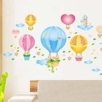 Romantic Colorful Hot air Balloon DIY Wall Stickers Removable Cute Cartoon Room Wall Decals Art Decor Sticker 50cm x 70cm 2 Sets