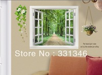 1pcs New Plants & Window 3D Pattern Wall Art Decal Removable Nursery Kids Stickers Home Decor Free Shipping 60*90CM