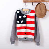 Baseball uniform female autumn and winter school wear five-pointed star stripe banner sweatshirt cardigan