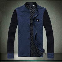 Free Shipping Newest Style Men's Casual Knit Sleeve Mandarin Collar Cotton Brand Thickening Winter Jacket &Wind Coat