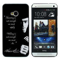 New Aluminum Metal Plate Hard Plastic Shell Cover BRUCE LEE For HTC One M7 Case Retail Free Shipping M7-513