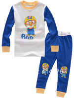 Cute blue cartoon design 100% cotton, baby / child baby pajamas / clothing sets for the 2-7 years.