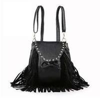 Free shipping women shoulder handbag female vintage messenger bag lady punk rivet tassel package tote bag#0163