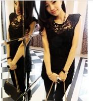 ladies sexy sheath o neck sleeveless black lace decor above knee slim korean club new arrival tank dress free shipping A604-6078