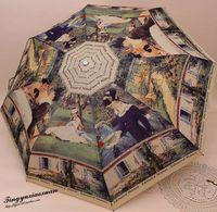 San xiang umbrella vintage oil painting automatic umbrella anti-uv umbrella folding sun umbrella Three Elephant