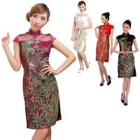 2014 new fashion lace embroidery phoenix cheongsam women cheongsam hollow out big yards/4 color, M - 4 xl, free shipping