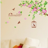 Romantic Hibiscus Floral Home Wall Sticker Art Decor Removable Bedroom TV-Wall DIY Lotus Flower with Birds Wall Decals 2 Sets