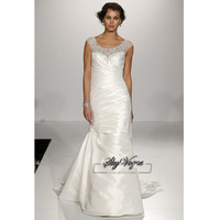 13W005 Round Collar  Beaded Taffeta Full Length Gorgeous Luxury Unique Brilliant Bridal Wedding Dress Free Shipping