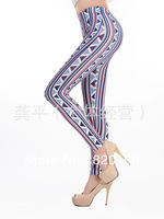 K1078 2013 trigonometric vertical stripe print seamless legging faux denim fashion ankle length trousers