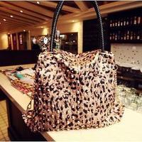 New arrival fashion women shoulder handbag female leopard grain golden rivet hobo bag lady tote bag #0170