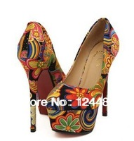 Drop Shipping 2013Summer Women's Pumps Sexy Vintage Flower Print Red Bottom Platform High Heels Shoes For Woman Black/Blue