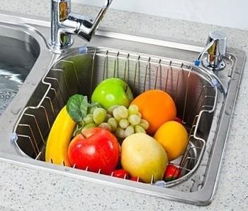 Stainless steel drain basket water blue water filter basket stainless steel dishes basket fruit basket intoned