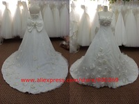 SL-3647 2012 Real Lace Strapless Long train Wedding gown