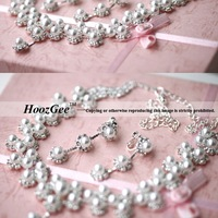 Free Shipping Romantic Alloy Simulated-pearl Set Women's Jewelry Sets For Wedding 1PC Necklace+1PC Earrings HoozGee-4962