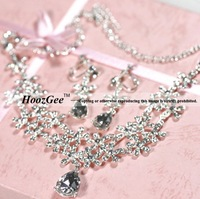 Free Shippig Fashion Alloy Acrylic Water Drop Pendants Women's Jewelry Sets For Wedding 1PC Necklace+1PC Earrings HoozGee-9878