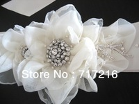 Elegant design hand made flower beaded crystal hot sale new bridal sash wedding accessories wedding dress belt