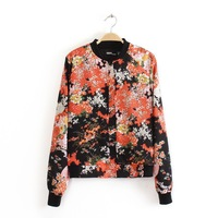 Autumn 2013 new European and American retro Sen female flower zipper jacket female models Slim short jacket sun protection cloth