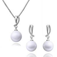 18K WHITE GOLD PLATED CRYSTAL PEARL PENDANT JEWELRY NECKLACE & Earring set S038