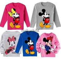 New designs wholesale!2013 new favorable mickey/minnie long sleeve O-neck kids sweatshirt, 20pcs/lot