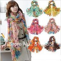 {Min.Order $15} 2013  Lady Fashion Soft Chiffon Flower Printing  Super Long Scarf   Many Colors to choose